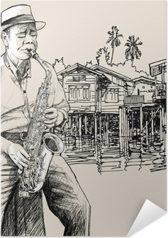 saxophonist on river background Self-Adhesive Poster