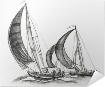sea boats Self-Adhesive Poster
