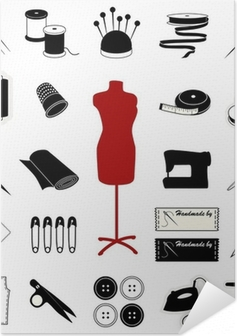 Sewing and Tailoring Icons Self-Adhesive Poster