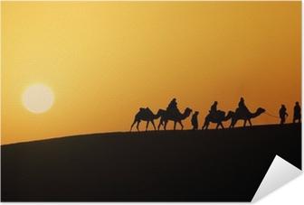Silhouette of a camel caravan in the desert of Sahara at sunset