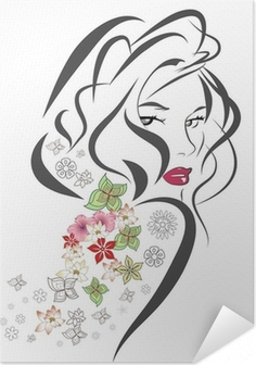 Silhouette of woman with flowers Self-Adhesive Poster