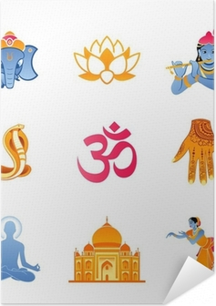 Spiritual, religious and culture icons of India Self-Adhesive Poster