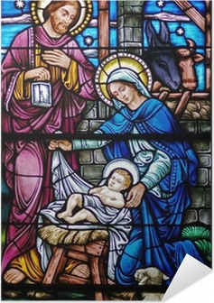 stained glass widow of nativity Self-Adhesive Poster