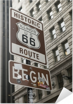 Start of Route 66, Chicago Self-Adhesive Poster