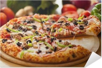 Supreme Pizza lifted slice 3 Self-Adhesive Poster