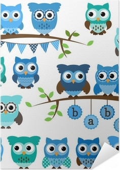 Vector Collection of Boy Baby Shower Themed Owls and Branches Self-Adhesive Poster