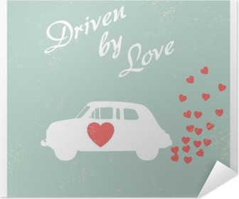 Vintage car driven by love romantic postcard design for Valentine card. Self-Adhesive Poster