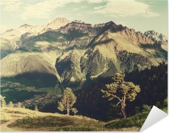 Vintage landscape with trees and mountains Self-Adhesive Poster
