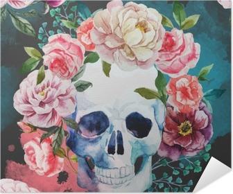 Watercolor skull Self-Adhesive Poster