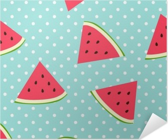 Watermelon seamless pattern with polka dots Self-Adhesive Poster