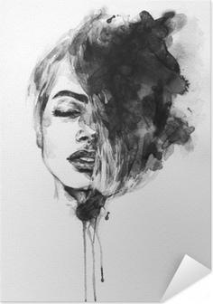 Woman face. Fashion illustration Self-Adhesive Poster