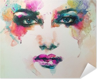woman portrait .abstract watercolor .fashion background Self-Adhesive Poster