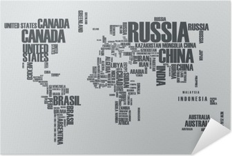 World map:the contours of the country consists of the words Self-Adhesive Poster