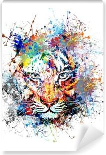 яркий фон с тигром Self-Adhesive Wall Mural