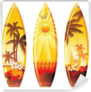 3 surf boards Self-Adhesive Wall Mural