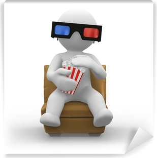 3d glasses with popcorn Self-Adhesive Wall Mural