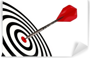 A dart arrow hits its target isolated with clipping path Self-Adhesive Wall Mural