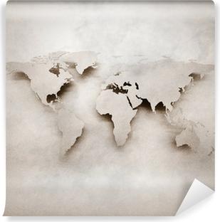Abstract 3d grunge world map Self-Adhesive Wall Mural