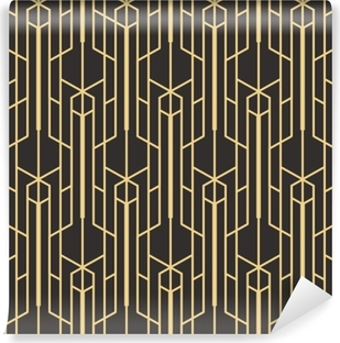 Abstract art deco seamless monochrome background Self-Adhesive Wall Mural