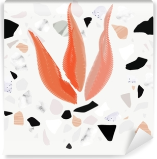 Abstract poster or card. Textured terrazzo shapes and embroidery fire. Self-Adhesive Wall Mural