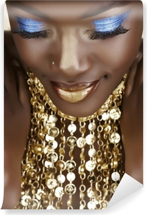 African woman with gold Self-Adhesive Wall Mural