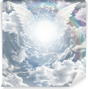Angelic presence in tunnel of light Self-Adhesive Wall Mural