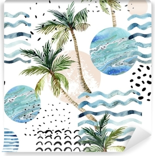 Art illustration with palm tree, doodle and marble grunge textures. Self-Adhesive Wall Mural