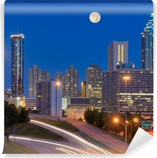 Atlanta Skyline under Full Moon Self-Adhesive Wall Mural