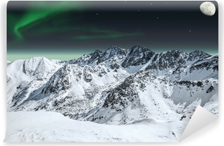 Aurora and moon in mountains Self-Adhesive Wall Mural