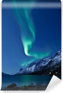 Aurora Borealis in Norway, reflected Self-Adhesive Wall Mural
