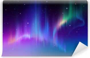 Aurora Borealis in starry polar sky, illustration Self-Adhesive Wall Mural