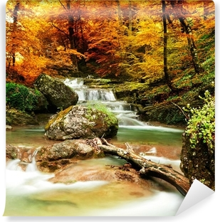 Autumn creek woods with yellow trees Self-Adhesive Wall Mural
