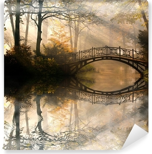 Autumn - Old bridge in autumn misty park Self-Adhesive Wall Mural