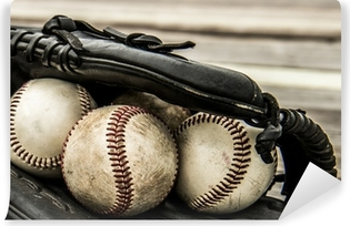 Baseball and mitt on rustic wooden background Self-Adhesive Wall Mural