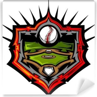 Baseball Field with Baseball Vector Image Template.Baseball Fiel Self-Adhesive Wall Mural