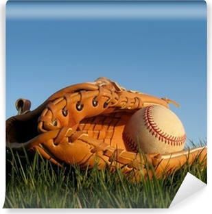 Baseball glove with ball resting in a grass field Self-Adhesive Wall Mural