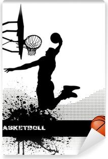 basketball match on grunge background Self-Adhesive Wall Mural