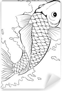 Black and white koi fish tattoo Self-Adhesive Wall Mural