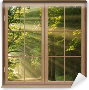 Brown closed the window - the sun's rays in the forest Self-Adhesive Wall Mural