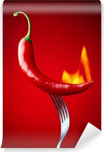 burning red chili pepper on red background Self-Adhesive Wall Mural