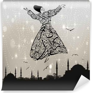 calligraphy dervish and istanbul mosques Self-Adhesive Wall Mural