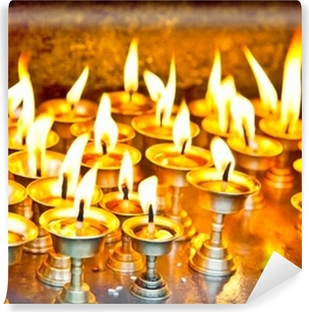 Candles at swayambhunath temple in Nepal Self-Adhesive Wall Mural