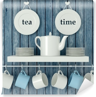 Ceramic kitchenware on the shelf. Self-Adhesive Wall Mural