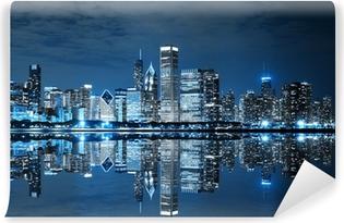 Chicago Downtown at Night Self-Adhesive Wall Mural