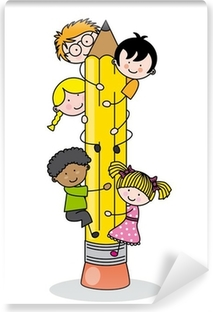 children climbing up a pencil Self-Adhesive Wall Mural