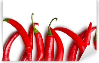 chili peppers on white background Self-Adhesive Wall Mural