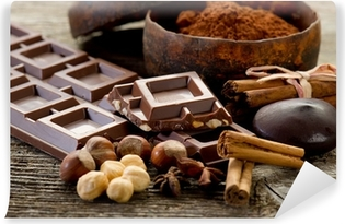 chocolate with ingredients-cioccolato e ingredienti Self-Adhesive Wall Mural