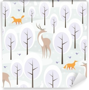 Christmas seamless pattern with the image of the winter forest and wild animals Self-Adhesive Wall Mural