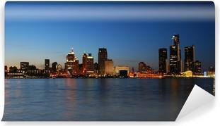 City skyline at night - Detroit, Michigan Self-Adhesive Wall Mural