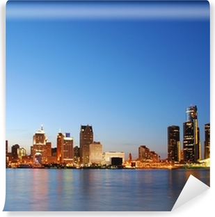 City skyline by night (Detroit, Michigan) Self-Adhesive Wall Mural